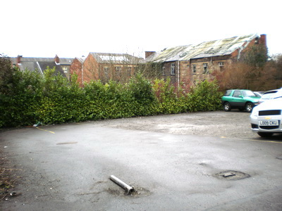 Car park viewed from entrance